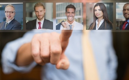 Businessman choosing the best worker
